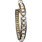 14k Yellow Gold Hoops Woven with Seed Pearls