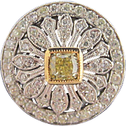 Yellow Diamond and White Diamond Ring