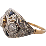 18k Yellow Gold, Platinum and Diamond Ring