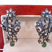 Georgian Rose Cut Diamond and Emerald Earrings