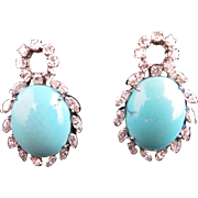 18k White Gold, Turquoise and Diamond Earrings