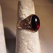 Antique Garnet Cabochon & 12k Rose Gold Ring