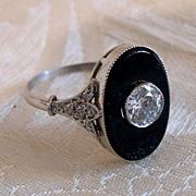 Art Deco Diamond, Onyx  18K / Platinum Ring