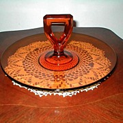 "Mid Century Amber Glass 11"" Handle Plate"
