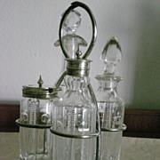 Early 1900's Four Bottles Small Cruet Set