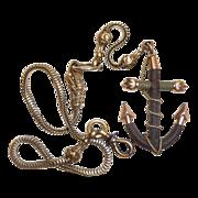 Rare Victorian 10k Watch Chain w Hair Anchor Fob Ornament