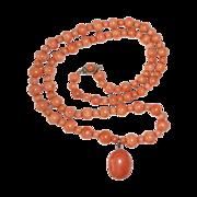 Victorian Coral Bead Necklace w Coral Cab Drop
