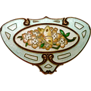 Art Nouveau Signed Sterling Enamel Butterfly & Roses Brooch