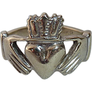 SALE Traditional Irish 14k White Gold Claddagh Ring