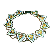 SALE Sterling Bracelet Enamel Hearts & Yellow Roses