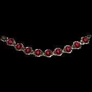 Gold Filled Faceted Red Glass Jewel Bracelet