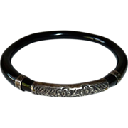 Chinese Chased Sterling & Black Lacquer Bracelet