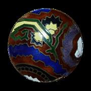 Art Deco Domed Brass Enamel Button