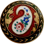 Art Deco Paisley Enamel Domed Gilt Brass Button