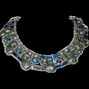 Triple Strand Blue Rhinestone, Jewels & Silvertone Bead Necklace