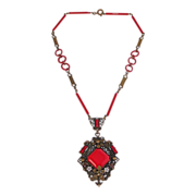 Art Deco Brass Filigree Red Glass Necklace Enamel Accents