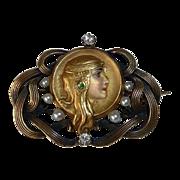 Art Nouveau 14K Gold Enamel Byzantine Woman Pin Diamonds