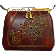 Arts & Crafts Tooled Leather Purse w Maple Leaves