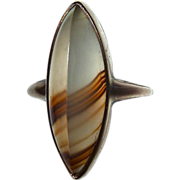 Marquise Banded Agate 10k Gold Ring