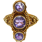 Victorian 14k & Amethyst Etruscan Revival Ring