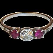 Art Deco Platinum Diamond & Ruby Ring c1920s