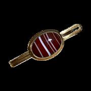 Gold Filled Tie Bar w Striped Agate c1950s