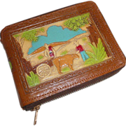 SOLD Tooled Leather Wallet Mexican Country Scene