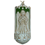 Antique German Porcelain Bisque Figural Angel Holy Water Font