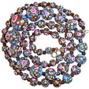 Venetian Blue Glass Bead Necklace Rosebuds & Gold Swirl