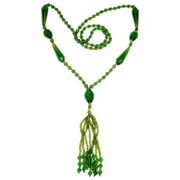 Art Deco Green Glass Tasseled Flapper Necklace