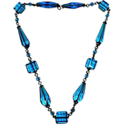 Peacock Blue Art Deco Glass Bead Necklace