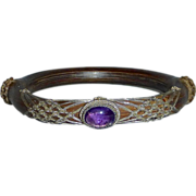 SOLD Chinese Ornate Woven Sterling over Bamboo~Amethyst