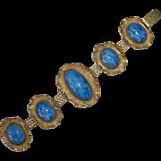 Blue Pearl Art Glass Cabochon Gilt Brass Bracelet