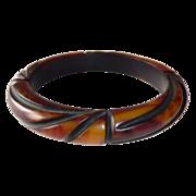 Art Deco Carved End-of-the-Day Bakelite Bracelet w Resin Wash