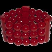 Red Bakelite Bead & Bar Stretch Bracelet