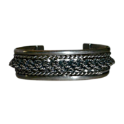 Sterling Silver Wide Cuff Bracelet w Twisted Wire