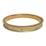 Brushed Gold Filled Hinged Bangle w Star Set Diamonds