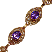 Art Deco Gold Filled Filigree Link Amethyst Glass Jewel Bracelet