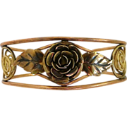 Rose & Yellow Gold Filled Signed Floral Cuff Bracelet