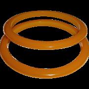 Set of 2 Amber Yellow Bakelite Bangle Bracelets