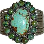 Native American Navajo Sterling & Turquoise Massive Signed Cuff Bracelet