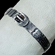 SALE PENDING Antique Folk Art Sterling Belt Bangle Bracelet