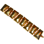 Hattie Carnegie Faceted Matte Gold Tone Bracelet