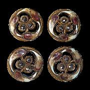 Victorian Gilt Brass Enamel Cut Steel Buttons Set 4