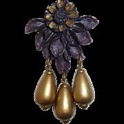 Art Deco Celluloid Clip Mauve Flower w Gold Teardrops