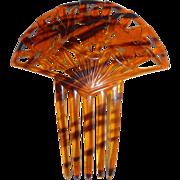 Faux Tortoise Filigree Ornamental Hair Comb