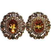 Madeira Citrine 10k Gold Lacy Post Earrings