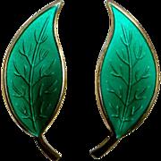 David Andersen Norway Sterling & Enamel Sea Green Leaf Earrings