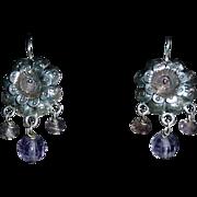 Mexican Sterling Pierced Repousse Flower Earrings Amethyst Beads
