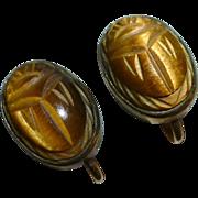Egyptian Revival Carved Tiger Eye Scarab GF Screw Earrings